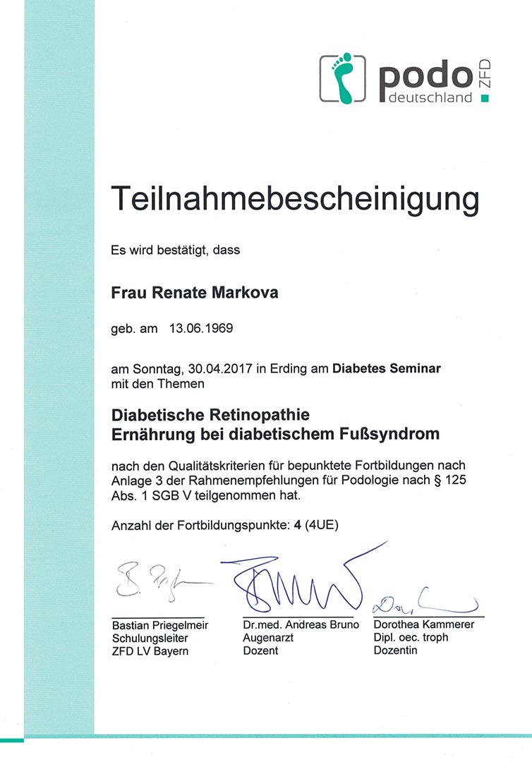 Diabetische Retinopathie Zertifikat